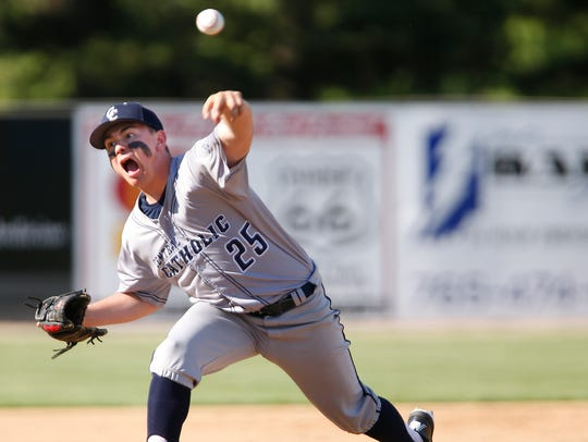 Central Catholic pitcher Jacob Marin with the delivery