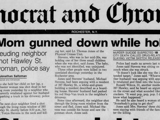 The front-page Democrat and Chronicle story about Tonya Stevens' death, from Dec. 28, 1988.