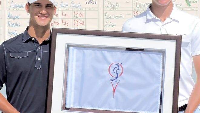 North Florida's Phillip Knowles, left, and Middle Tennessee State's Ilari Saulo were medalists at the Quail Valley Collegiate Invitational — both finishing with 203s in the 54-hole event.