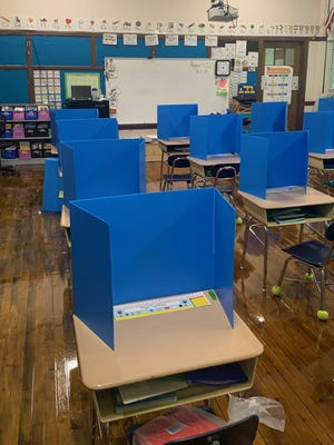 Classrooms are set up with health and safety precautions for the opening of the Maple Street Magnet School in Rochester on Tuesday, Aug. 11. It will be the first New Hampshire school to reopen for in-person learning since all schools closed buildings in March, according to the state Department of Education.