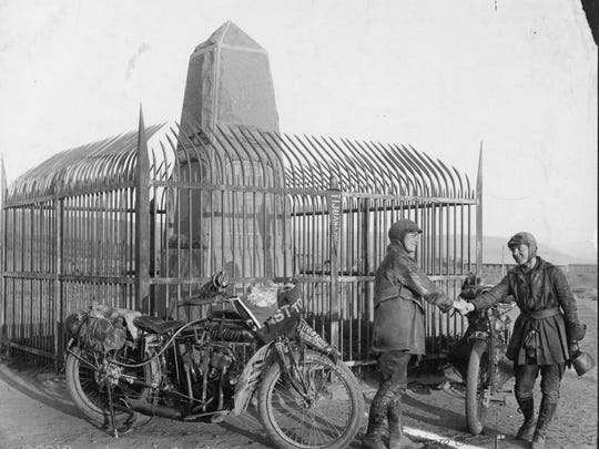This 1916 photo provided Dan Ruderman shows Adeline and Augusta Van Buren at the United States/Mexico border during their cross-country motorcycle trip. A century ago, when the automobile was in its infancy and most roads in the United States weren't paved, the intrepid sisters from Brooklyn embarked on a remarkable journey, a 4,000-mile trek across the country, aboard two Indian motorcycles.