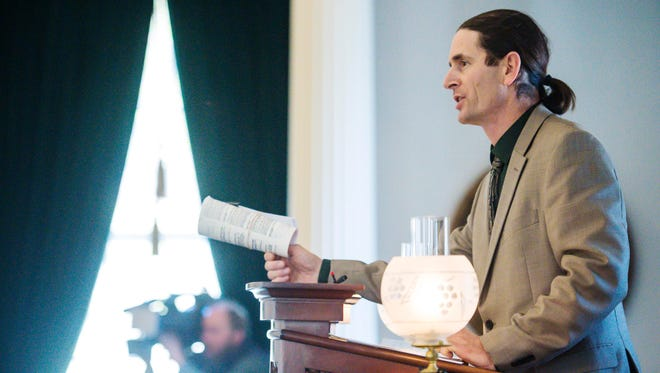 Lt. David Zuckerman presides as the Senate votes to legalize marijuana at the statehouse in Montpelier on Wednesday, January 10, 2018.