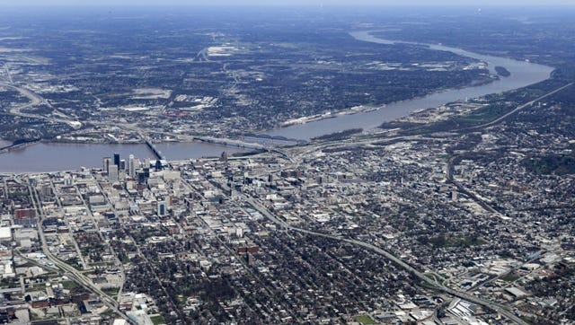 Louisville as seen from the air earlier this year.