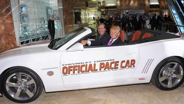 Donald Trump tries out the 2011 Camaro with Jeff Belskus, CEO of the Indianapolis Motor Speedway. Trump will be the pace car driver for the 100th annniversary of the Indianapolis 500.