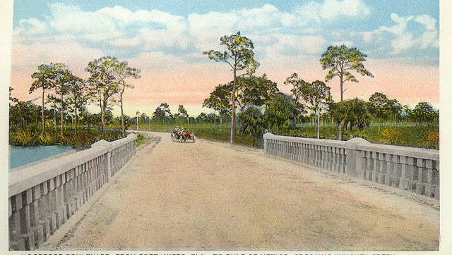 This picture postcard illustration is of McGregor Boulevard at Whiskey Creek, circa 1916.
