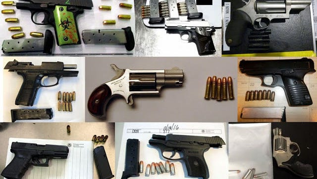 The Transportation Security Administration discovered 71 firearms during the week of Oct. 14-20 in carry-on bags around the nation. Of the total,  56 were loaded and 17 had a round chambered.