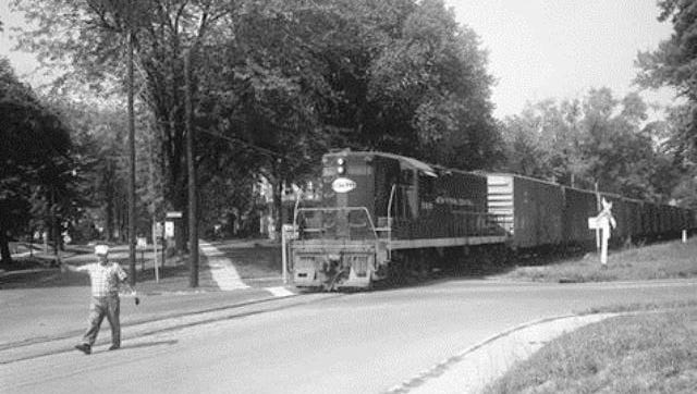 There were no crossing gates when trains still passed through the intersection of Hayes and Park Avenue when this picture was taken in the 1970s.