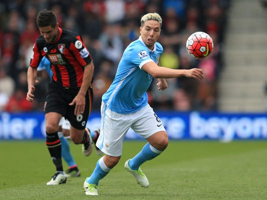 Manchester City's Samir Nasri during in action during preparations for the English Premier League soccer match against Bournemouth, at the Vitality Stadium in Bournemouth, England, Saturday April 2, 2016. (Adam Davy / PA via AP) UNITED KINGDOM OUT - NO SALES - NO ARCHIVES