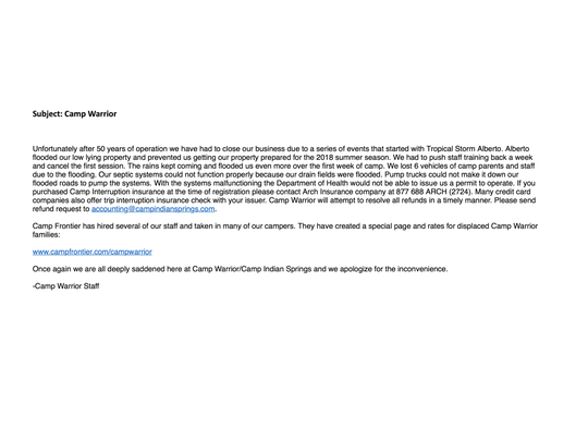 An email sent to families about Camp Warrior's closing.