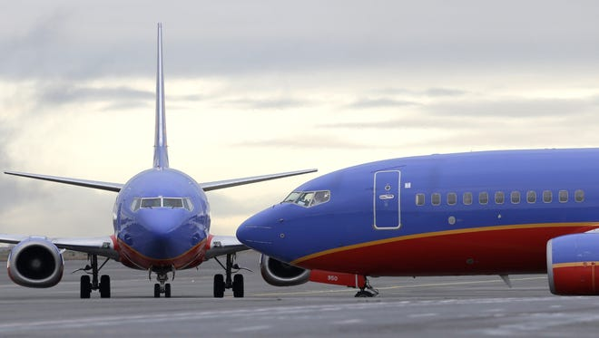 A Southwest Airlines Boeing 737 waits to taxi to a gate at Seattle-Tacoma International Airport on Jan. 26, 2016.