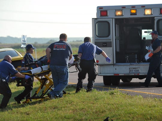 The male driver of of a Honda minivan was taken to the hospital with seriuos injuries following a two-car rollover accident Thursday morning on I-44 in Burkburnett.