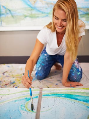 Hypoluxo resident and Palm Beach County native Carly Mejeur has had a lifelong love affair with the ocean -- as a swimmer, surfer, spear fisher and lifeguard. Her nautical artwork, much of which is painted atop maps and nautical charts, has been very popular.