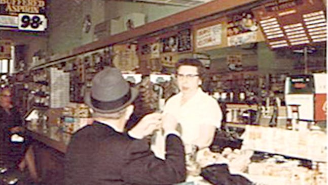 Wayne Breighner of Red Lion submitted this photo of the soda fountain at Ziegler's Drug Store on the southwest corner of Market and Penn Sts. He writes, 'My mother, Alverta M. Breighner nee Smith [1908-1972] is shown taking an order from a customer. It's sad that soda fountains are rarely found today.'