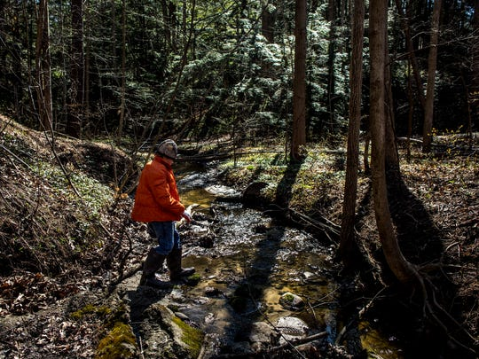 Matthew Homik, 11, crosses a creek while looking for garbage along with other members of Port Huron Boy Scout Troop 168 as part of an annual spring cleanup Saturday, April 23, 2016 on Abbottsford Road in Clyde Township.