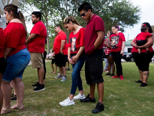 Friends, family, and residents show their support for the family of Jordan Valero, 19, who was gunned down in his home one year ago, at Riverside Park on Sunday, July 9, 2017, in Bonita Springs. Proceeds from the event will go toward a reward for any information leading to the arrest of a suspect.