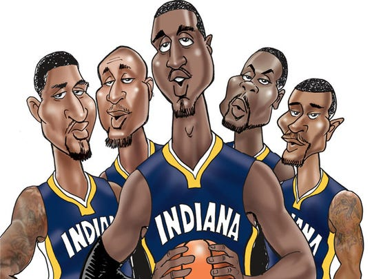 The 2013-14 Pacers' starting-five from the left: Paul George, David West, Roy Hibbert, Lance Stephenson and George Hill