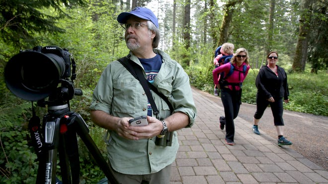 Bird expert Stephen Shunk gave three tours at Silver Falls State Park on Sunday.
