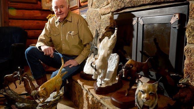 Sculptor Don Ream with some the pieces he is bringing to Western Art Week.