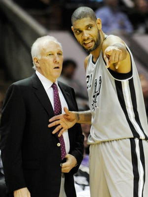 Spurs coach Gregg Popovich and star Tim Duncan.