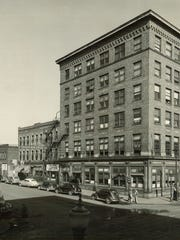 The Teachout Building at East Fifth and East Locust streets shown in the late 1940s. It was added to the National Register of Historic Places in 1999.