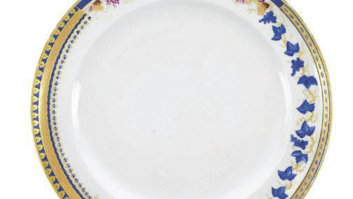 Sample design plates are very rare. They were made for store displays. A c. 1795 Chinese export plate showing four sample borders, one with a monogram, auctioned for over $8,000 this year in New York.