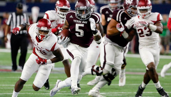 Texas A&M running back Trayveon Williams ran for 153 yards and two touchdowns (22 and 33 yards) against Arkansas in a 45-24 win.
