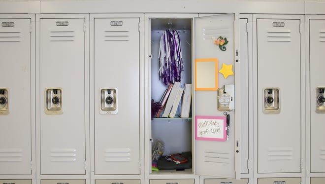 Open locker in high school