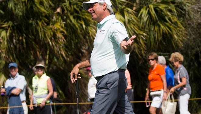 PGA Tour Pro Fred Couples smiles while joking around after hitting a solid drive during the Chubb Classic Pro-Am at TwinEagles Club Thursday, Feb. 16, 2017 in Naples.