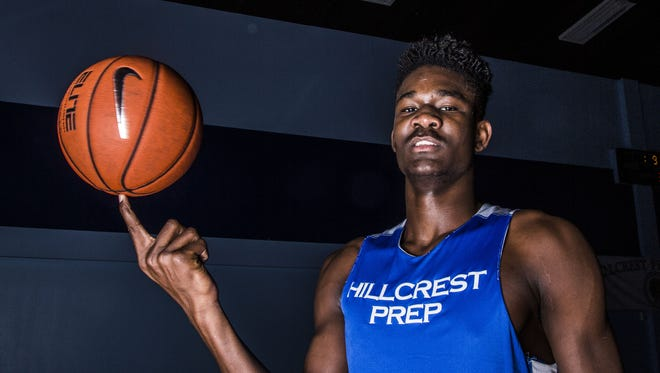 Hillcrest Prep junior DeAndre Ayton, a 7-foot-1 basketball player, is rated the No.1 player in the country. Pictured here at Hillcrest Prep in Phoenix, AZ on February 1, 2016.