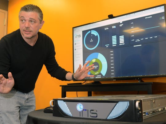 Brian Ignomirello, founder of Symbolic IO, is shown in the company's office at Bell Works in Holmdel.