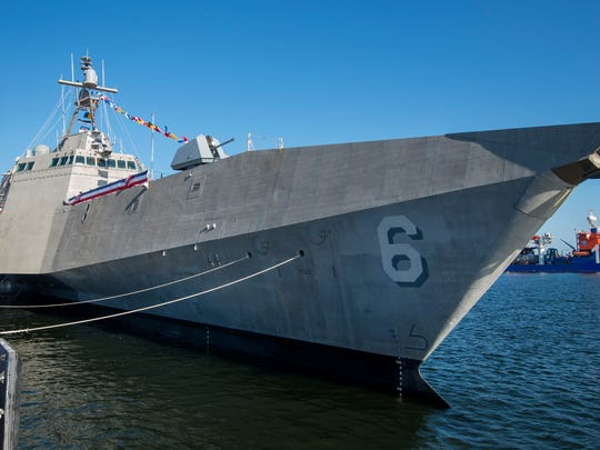 The USS Jackson was commissioned Saturday at the Port of Gulfport.