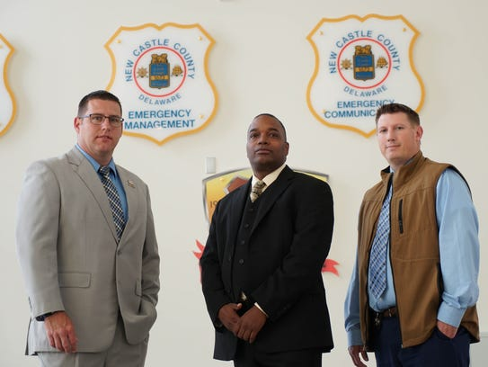 Standing together are, from left, Brian Shahan, a detective with the New Castle County Police Department; Cpt. John Treadwell of the New Castle County Police Department; and Paul Woodland, deputy chief of police for the U.S. Department of Veterans Affairs.