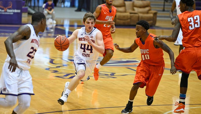 Northwestern State walk-on Bailey Walker (44) scored 20 points for the Demons on Saturday.