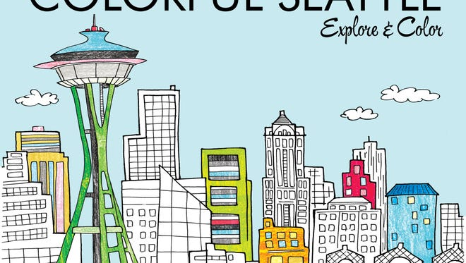 The book cover of Colorful Seattle, a coloring book and travel guide created by Sheboygan-native Laura Lahm.