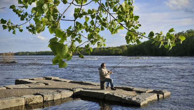 Old piers in Sauk Rapids are one of many good shore-fishing spots along the Mississippi River in the St. Cloud metro area.