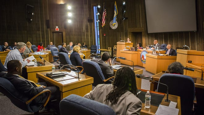 Members of the Wilmington City Council meet at the Louis L. Redding City/County Building in Wilmington on May 19.