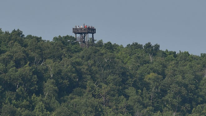 The Potawatomi State Park's observation tower in Sturgeon Bay is 225 feet above water.