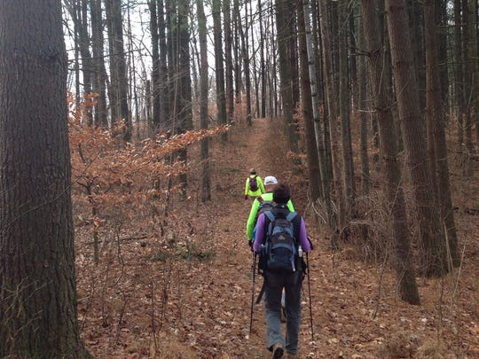 Hikers make their way along the Nebo Ridge Trail, an