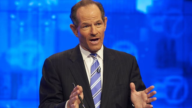 New York Gov. Eliot Spitzer, participates in the first primary debate for New York City comptroller Friday, Aug. 9, 2013, in New York.