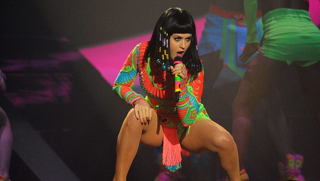 Katy Perry performs at The BRIT Awards at 02 Arena on February 19, 2014, in London.