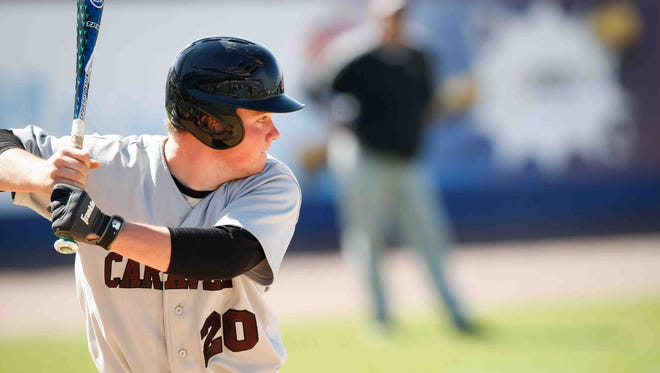 Ryan Zwier bats for Caravel in the 2014 state championship game.