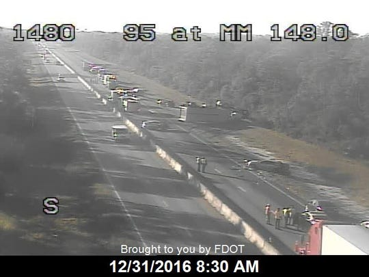 View of Interstate 95 at mile marker 148 at 8:30 a.m. Saturday, Dec. 31, 2016.