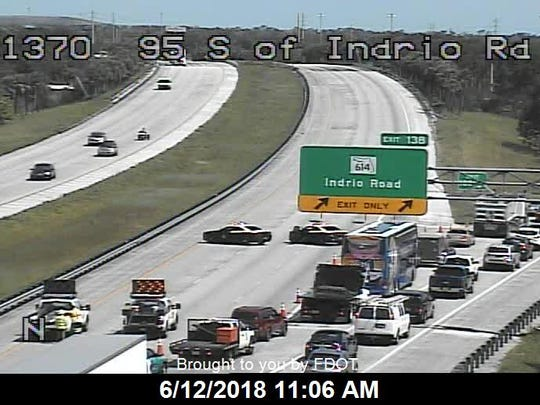 Traffic on Interstate 95 was diverted at Indrio Road after a fatal crash shut down all northbound lanes about 10 a.m. Tuesday.