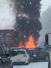 New Hampshire State Police reported a massive pileup