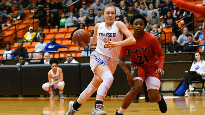 Frenship's Kaylee Rendon (11) drives to the basket during the Region I-6A semifinal game against Cedar Hill on February 28 in Wilkerson-Greines Activity Center in Fort Worth. Rendon was named the LSV Comeback Athlete of the Year.