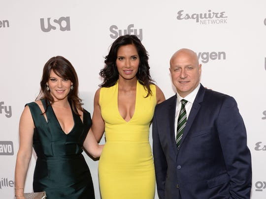 """""""Top Chef"""" judges Gail Simmons, from left, Padma Lakshmi, and Tom Colicchio seen here attending the NBCUniversal Cable Entertainment 2015 Upfront at The Jacob Javits Center on Thursday, May 14, 2015, in New York are expected to be in the Coachella Valley on Wednesday for a filming of the chef reality competition show."""