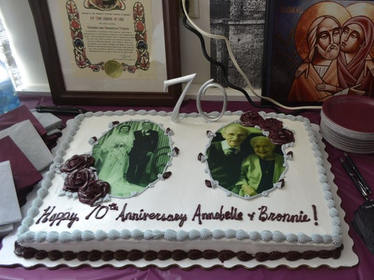 Along with their family and friends, the congregation at St. Matthew Orthodox Church in Green Bay honored church members Bronnie and Annabelle Stroud for their 70th wedding anniversary during the Sept. 6 service.