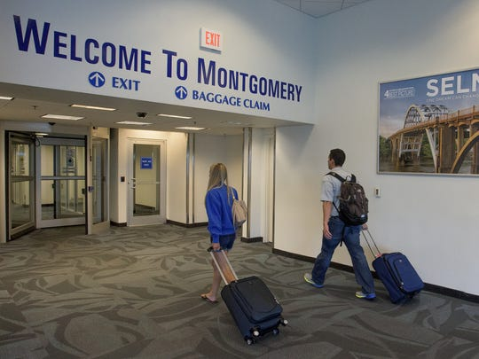 Passengers arrive at the Montgomery Regional Airport