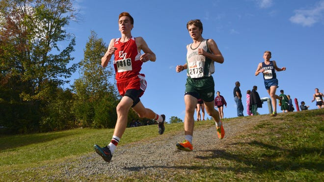 Champlain Valley Union junior Tyler Marshall, Saturday's Division I favorite at states, competes at the 25th annual Woods Trail Run at Thetford Academy earlier this month.