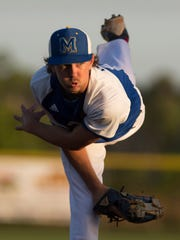 Martin County's pitcher Ritchie Pfluger throws a pitch
